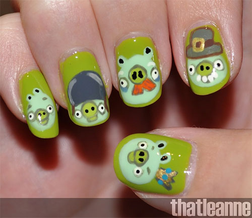 Cute-Angry-Birds-Nail-Art-Designs-Ideas-2013-2014-1