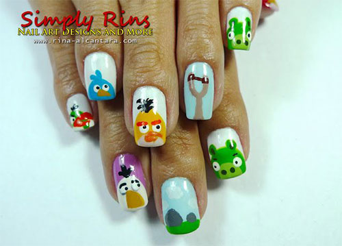 Cute-Angry-Birds-Nail-Art-Designs-Ideas-2013-2014-10