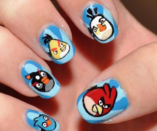 Cute-Angry-Birds-Nail-Art-Designs-Ideas-2013-2014-2