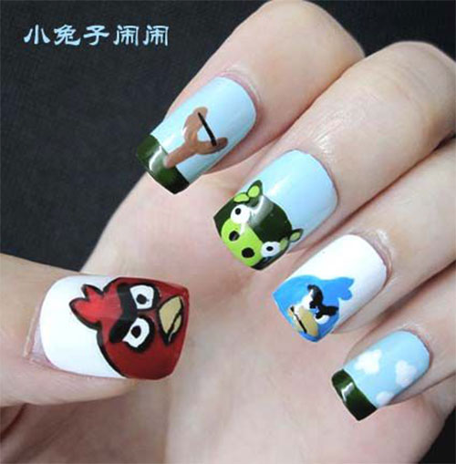 Cute-Angry-Birds-Nail-Art-Designs-Ideas-2013-2014-4