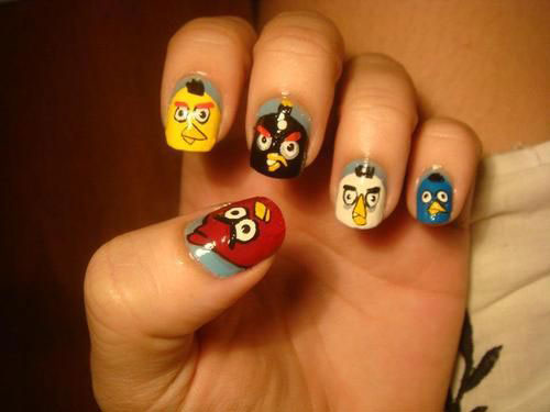 Cute-Angry-Birds-Nail-Art-Designs-Ideas-2013-2014-5