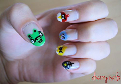 Cute-Angry-Birds-Nail-Art-Designs-Ideas-2013-2014-7