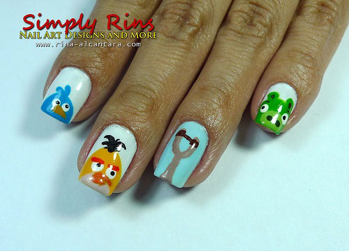 Cute-Angry-Birds-Nail-Art-Designs-Ideas-2013-2014-9