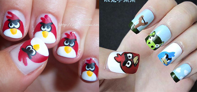 Cute Angry Birds Nail Art Designs Ideas 2013 2014 Fabulous Nail Art Designs,Simple Arya Work Blouse Designs Images