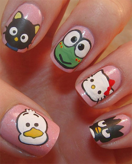 Cute Simple Hello Kitty Nail Art Designs Stickers