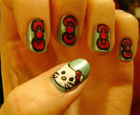 Cute-Simple-Hello-Kitty-Nail-Art-Designs-Stickers -Nail-Art-For-Beginners-4