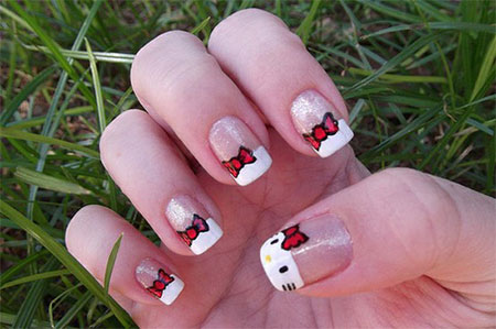 Cute-Simple-Hello-Kitty-Nail-Art-Designs-Stickers -Nail-Art-For-Beginners-6