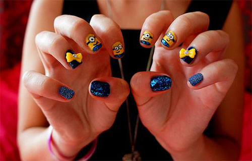 Minions-Nail-Art-Ideas-Designs-Stickers-2013-2014-Despicable-Me-2-Nails-10