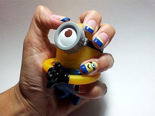Minions-Nail-Art-Ideas-Designs-Stickers-2013-2014-Despicable-Me-2-Nails-3