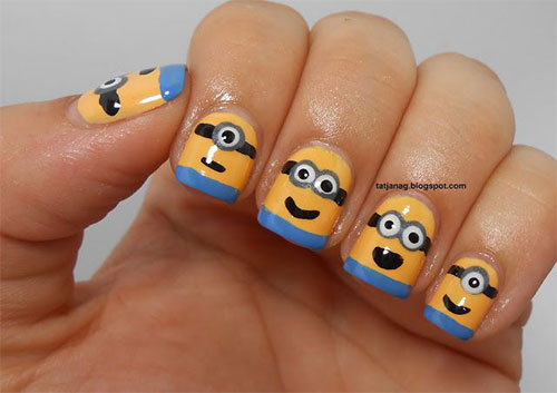 Minions-Nail-Art-Ideas-Designs-Stickers-2013-2014-Despicable-Me-2-Nails-4