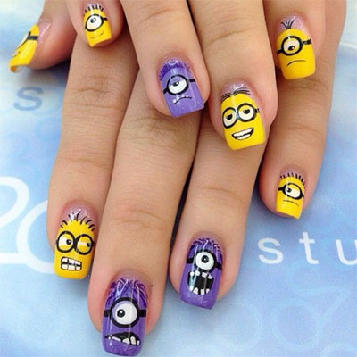 Minions-Nails-2013-2014-Despicable-Me-2-Nail-Art-Designs-2