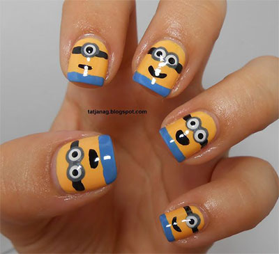 Minions-Nails-2013-2014-Despicable-Me-2-Nail-Art-Designs-4