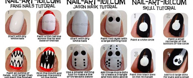 simple easy scary halloween nail art tutorials 2013 2014 for beginners learners - Halloween Easy Nail Art