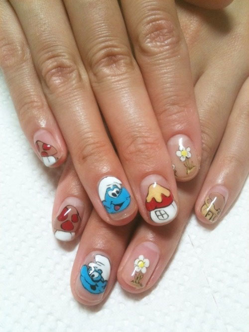 Simple-Easy-Smurf-Nail-Art-Designs-Ideas-2013-2014-1
