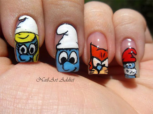 Simple-Easy-Smurf-Nail-Art-Designs-Ideas-2013-2014-10
