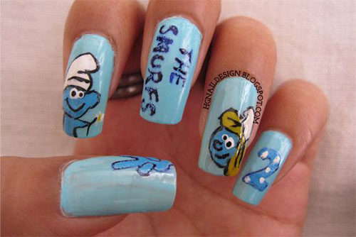 Simple-Easy-Smurf-Nail-Art-Designs-Ideas-2013-2014-11