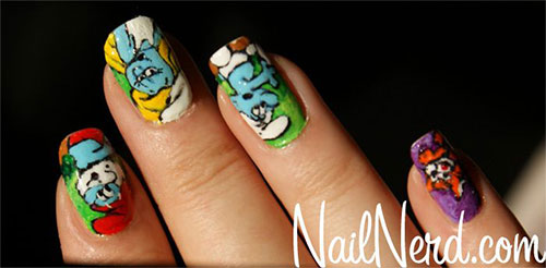 Simple-Easy-Smurf-Nail-Art-Designs-Ideas-2013-2014-15