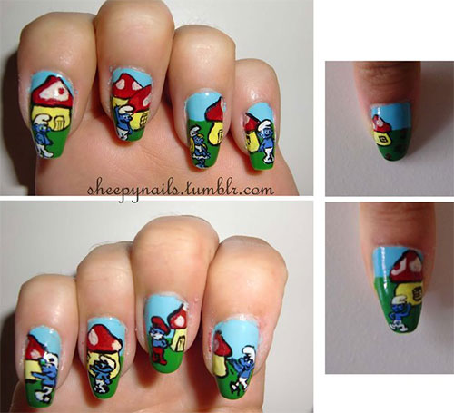 Simple-Easy-Smurf-Nail-Art-Designs-Ideas-2013-2014-16