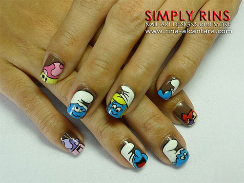 Simple-Easy-Smurf-Nail-Art-Designs-Ideas-2013-2014-2