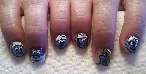 Simple-Easy-Smurf-Nail-Art-Designs-Ideas-2013-2014-3