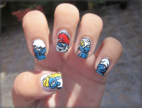 Simple-Easy-Smurf-Nail-Art-Designs-Ideas-2013-2014-6