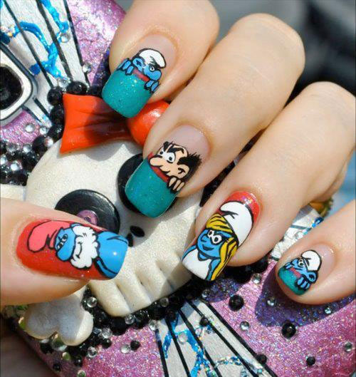 Simple-Easy-Smurf-Nail-Art-Designs-Ideas-2013-2014-7