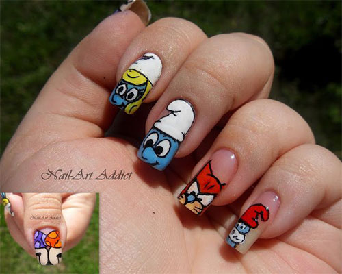 Simple-Easy-Smurf-Nail-Art-Designs-Ideas-2013-2014-8
