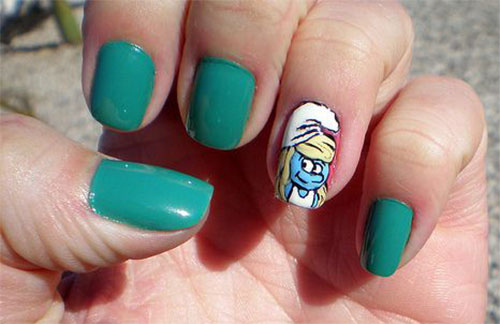 Simple-Easy-Smurf-Nail-Art-Designs-Ideas-2013-2014-9