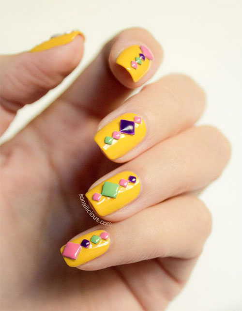 Simple-Easy-Yellow-Nail-Art-Designs-Ideas-2013-2014-10