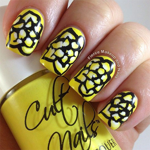Very-Easy-Yellow-Nail-Art-Designs-Ideas-2013-2014-For-Beginners-Learners-4