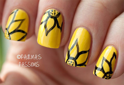 Very-Easy-Yellow-Nail-Art-Designs-Ideas-2013-2014-For-Beginners-Learners-7