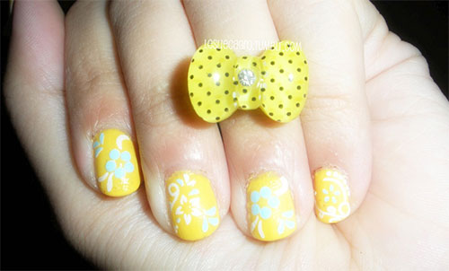 Very-Easy-Yellow-Nail-Art-Designs-Ideas-2013-2014-For-Beginners-Learners-9