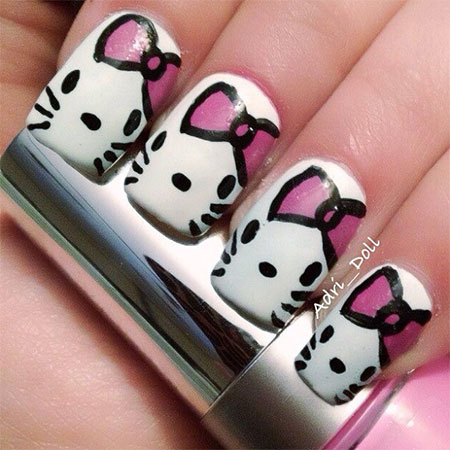 Cute Hello Kitty Nail Art Designs Ideas 2013 2014 Fabulous Nail