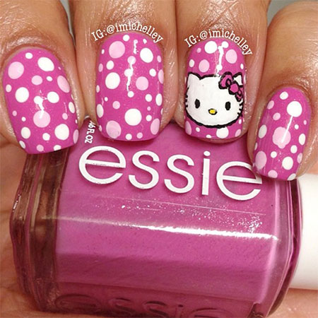 Easy Hello Kitty Nail Art Designs Ideas Stickers 2013 2014 3d