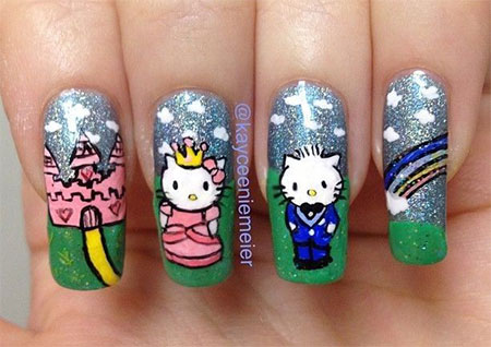 Easy-Hello-Kitty-Nail-Art-Designs-Ideas-Stickers-2013-2014-3D-Nails-3