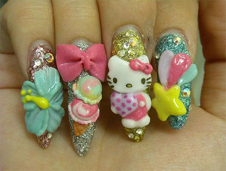 Easy-Hello-Kitty-Nail-Art-Designs-Ideas-Stickers-2013-2014-3D-Nails-4