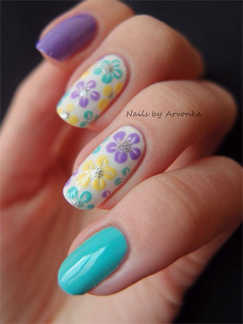 simple  easy flower nail art designs  ideas 2013/ 2014