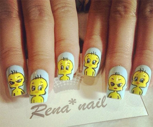 Tweety-Bird-Nail-Art-Designs-Ideas-Stickers-2013-2014-1