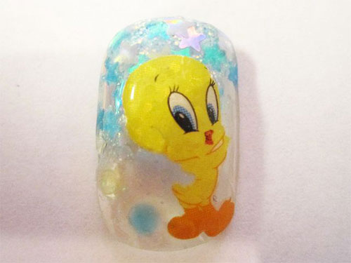 Tweety-Bird-Nail-Art-Designs-Ideas-Stickers-2013-2014-10