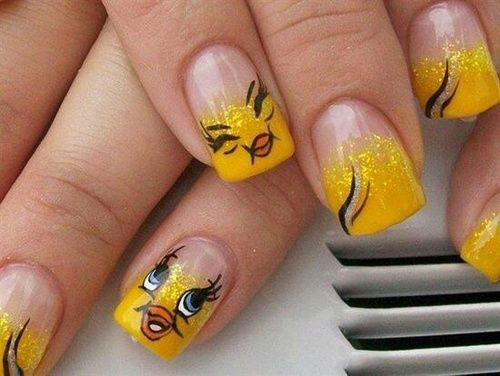 Tweety-Bird-Nail-Art-Designs-Ideas-Stickers-2013-2014-2