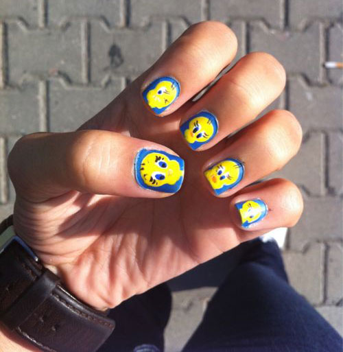 Tweety-Bird-Nail-Art-Designs-Ideas-Stickers-2013-2014-4