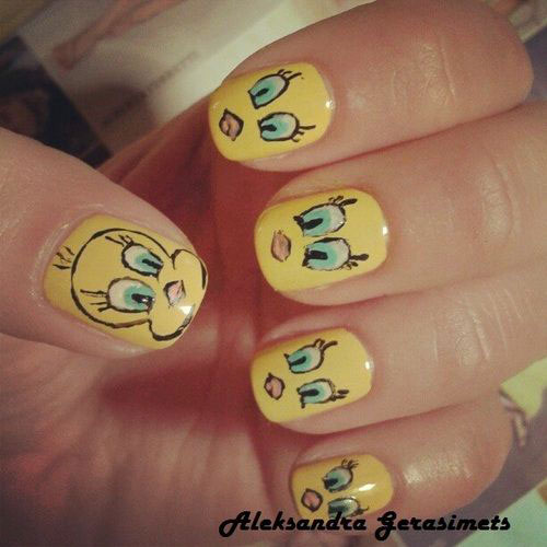 Tweety-Bird-Nail-Art-Designs-Ideas-Stickers-2013-2014-5