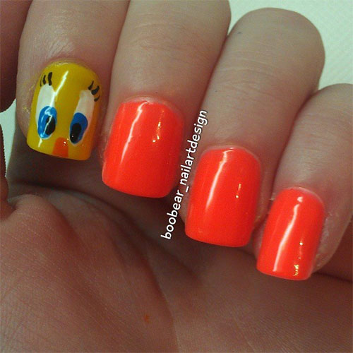 Tweety-Bird-Nail-Art-Designs-Ideas-Stickers-2013-2014-7