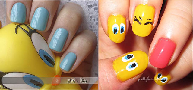 Tweety-Bird-Nail-Art-Designs-Ideas-Stickers-2013-2014