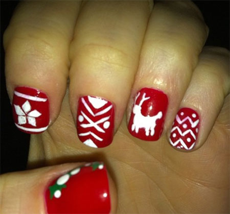 Easy Christmas Tree Nail Art Designs Ideas 2013 2014 X Mas Nails 11