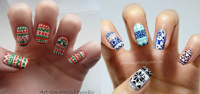 Christmas Sweater Nail Art Designs Ideas 2013 2014 X Mas Nails