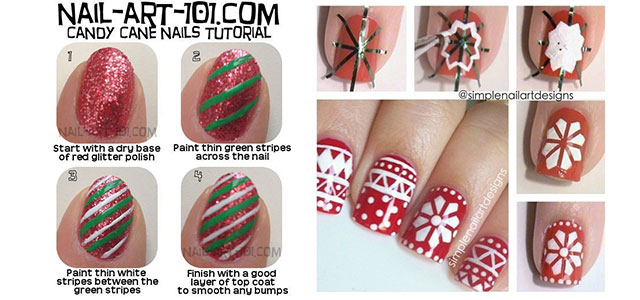 Easy Christmas Nail Art Tutorials 2013 2014 X Mas Nails