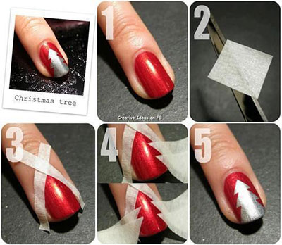 easy  simple christmas tree nail art tutorials 2013/ 2014