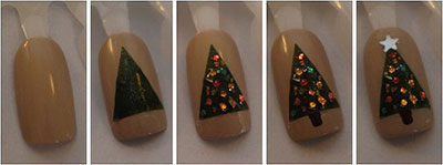 Christmas tree nail art tutorials 2013 2014 for beginners learners 7