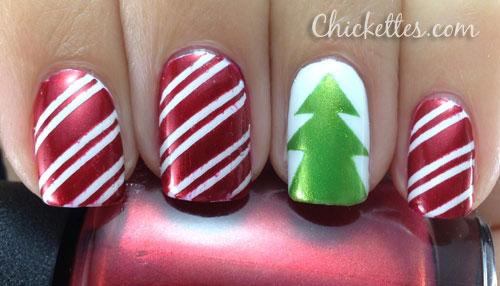 Simple Easy Christmas Tree Nail Art Designs Ideas 2013 2014